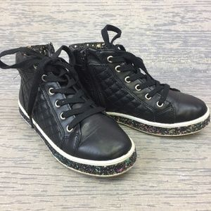 Steve Madden black and glitter high top sneaker